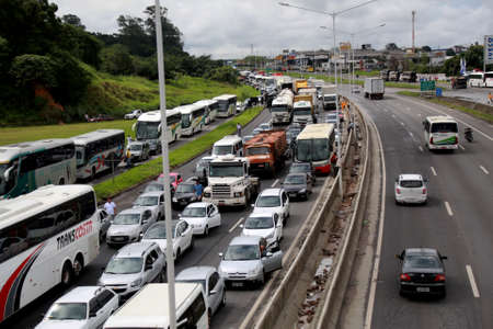 salvador, bahia / brazil - april 27, 2015: vehicles are seen during congestion on highway BR 324 in access to the city of Salvador.