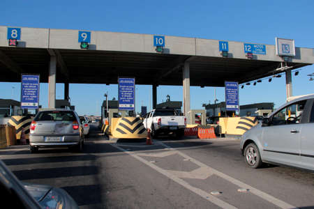 candeias, bahia / brazil - december 12, 2012: view of the toll plaza on highway BR 324, in the municipality of Candeias.