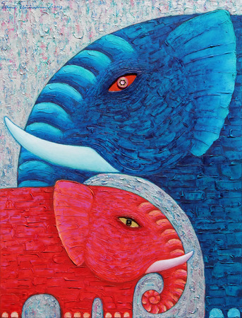 Red and Blue Elephant 1, Original acrylic painting on canvas.