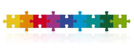 Illustration pour teamwork puzzle in a row - image libre de droit