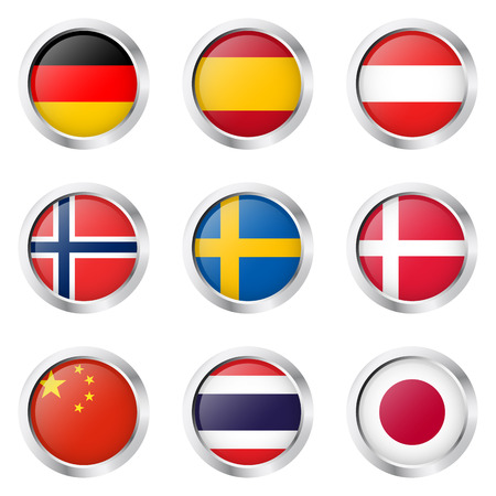 collection buttons with country flags