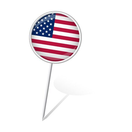 pin round with USA flag