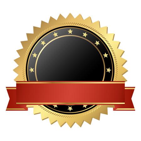 Illustration pour template seal of quality gold with banner - image libre de droit