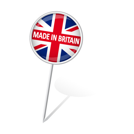 round pin with shadow and text MADE IN BRITAIN