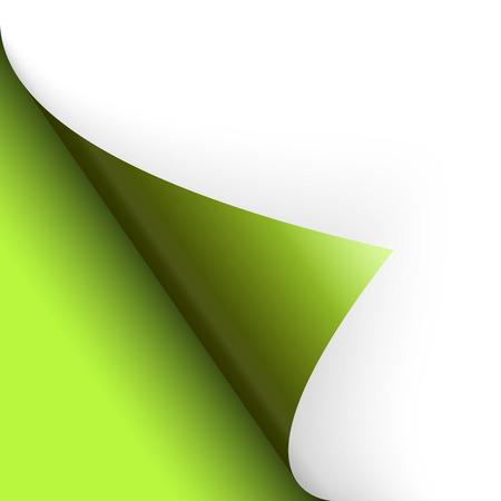 green paper folded corner
