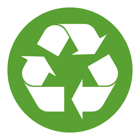 Illustration for Recycling symbol white on green - Royalty Free Image