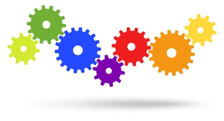 different colored gears for cooperation or teamwork symbolism with shadow