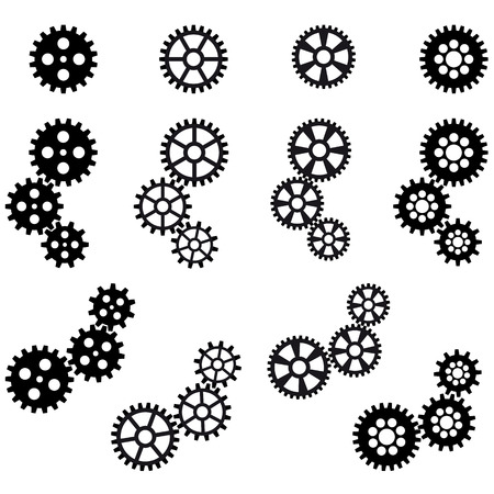 collection of black gears for cooperation or teamwork symbolism