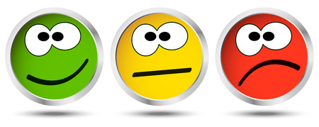 three buttons with happy, neutral and sad emotion faces