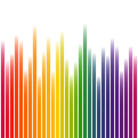 Background with wave of multi colored stripes on white
