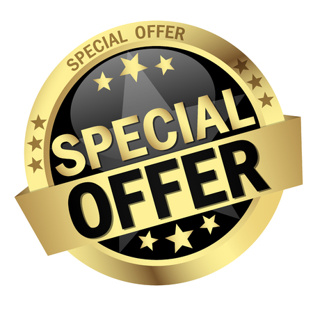 colored round button with banner Special Offer