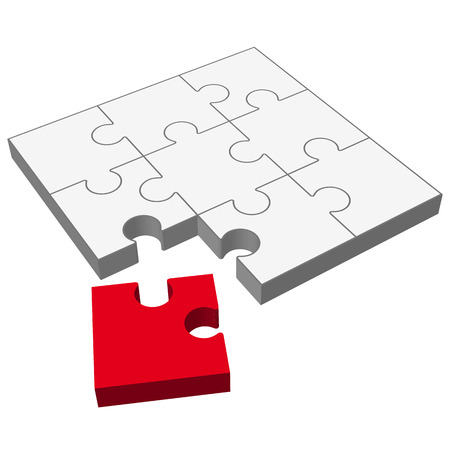 gray three dimensional puzzle with one red part who does not fit