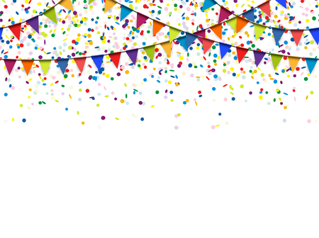 Illustration pour seamless colored garlands and confetti background for party or festival usage - image libre de droit