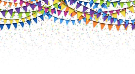 Illustration pour colored garlands and confetti background for party or festival usage - image libre de droit