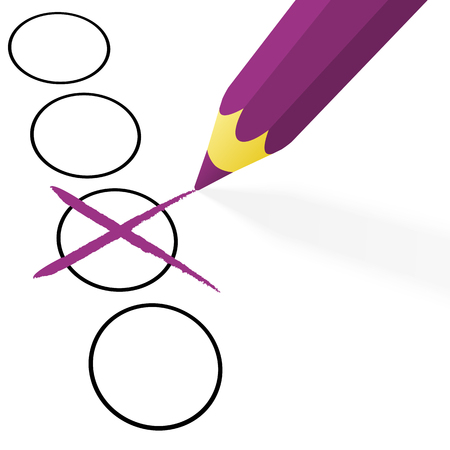 illustration of pencil colored purple drawing a cross