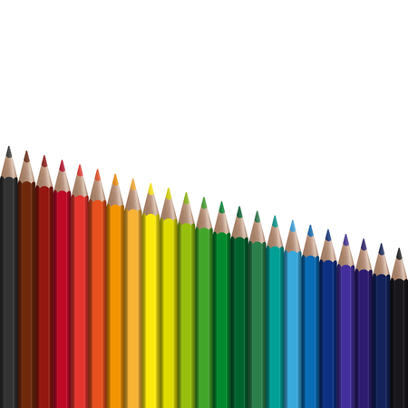 Colored pens in series falling