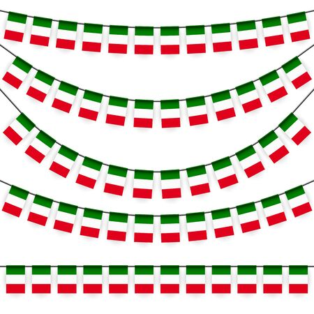 different garlands with national colors of italian flag