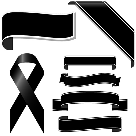 Illustration pour collection of black mourning ribbon and banners for sorrowful times - image libre de droit