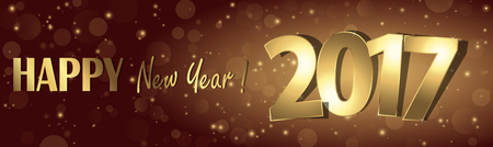 happy new year 2017 greetings with golden numbers and brown background