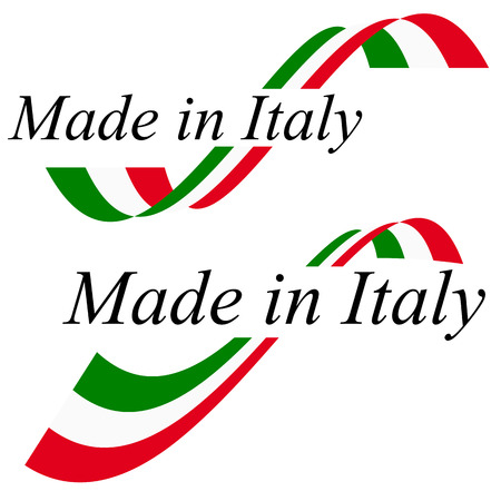 seal of quality with text made in Italy and colors of italian flag