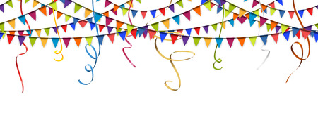 Illustration for seamless colored garlands and streamers background for party or festival usage - Royalty Free Image