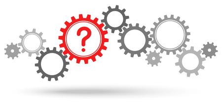 Ilustración de Question mark and gear illustration. - Imagen libre de derechos
