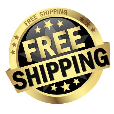 Ilustración de colored button with banner and text Free Shipping - Imagen libre de derechos