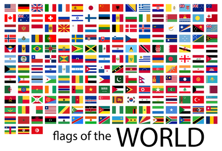 Illustration pour collection of flags from all national countries of the world - image libre de droit