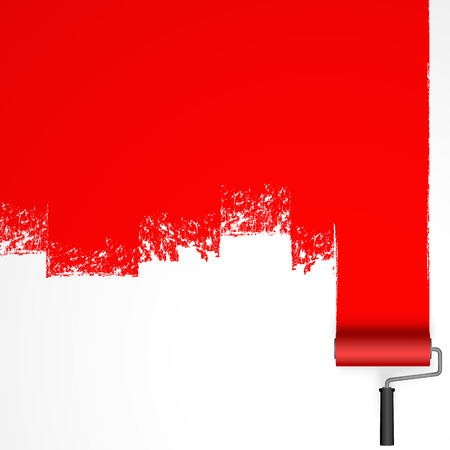 Illustration for repainting with an paint roller with marking colored red - Royalty Free Image