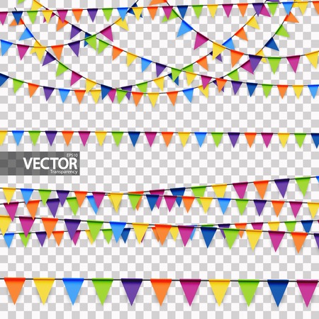 colored garlands background collection for party or festival usage with transparency in vector file