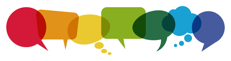 Illustration for illustration of colored speech bubbles in a row with space for text - Royalty Free Image