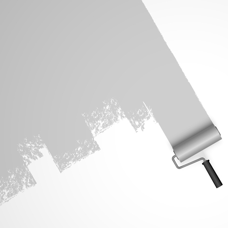 EPS 10 vector illustration isolated on white background with paint roller and painted marking colored gray