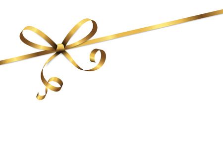 Ilustración de EPS 10 vector illustration of golden colored ribbon bow isolated on white background - Imagen libre de derechos