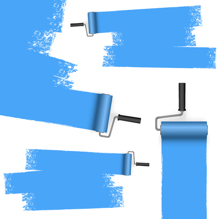 EPS 10 vector illustration isolated on white background with paint rollers and painted markings colored blue