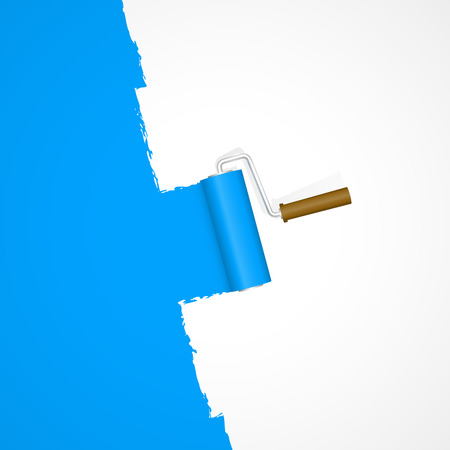 Illustration for repainting with paint roller color blue on white background - Royalty Free Image