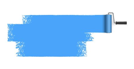 EPS 10 vector illustration isolated on white background with paint roller and painted marking colored blue