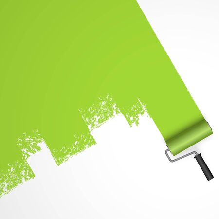 EPS 10 vector illustration isolated on white background with paint roller and painted marking colored green