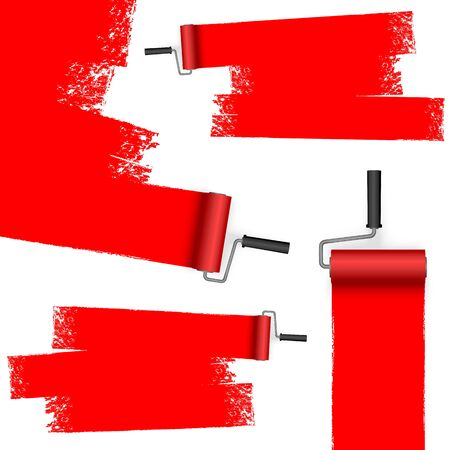 EPS 10 vector illustration isolated on white background with paint rollers and painted markings colored red
