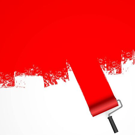 vector illustration isolated on white background with paint roller and painted marking colored red