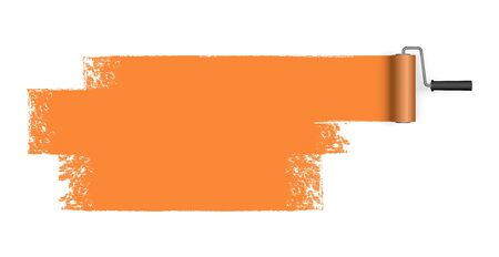 vector illustration isolated on white background with paint roller and painted marking colored orange