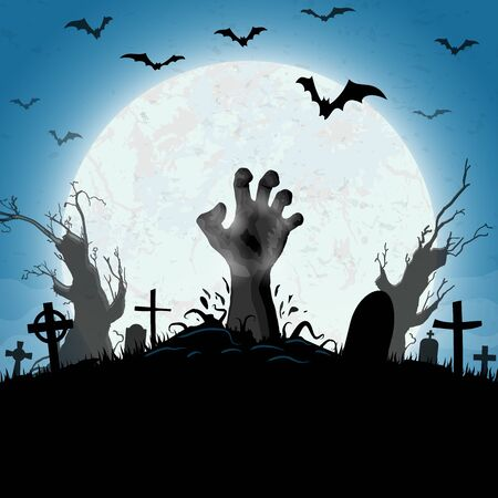 Illustration pour zombie hands in front of full moon with scary illustrated elements for Halloween background layouts - image libre de droit