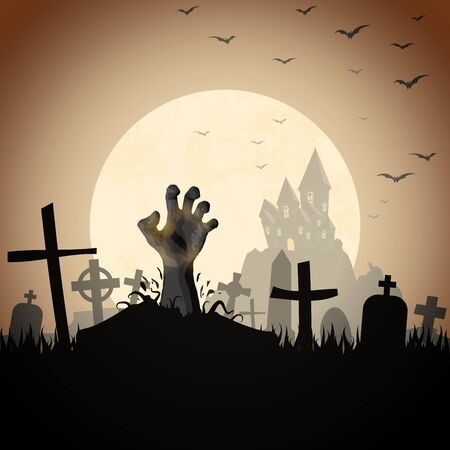 Illustration pour zombie hand in front of a castle and a full moon with grave stones and other scary illustrated elements for Halloween background layouts - image libre de droit