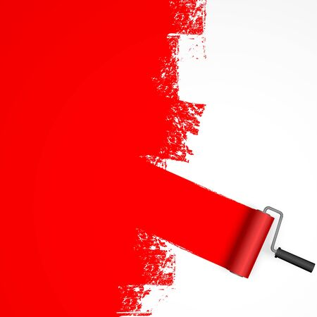 EPS 10 vector illustration isolated on white background with paint roller and painted marking colored red