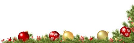 vector panorama background concept with decorated green fir branches with christmas baubles, stars and red berries and free space for text