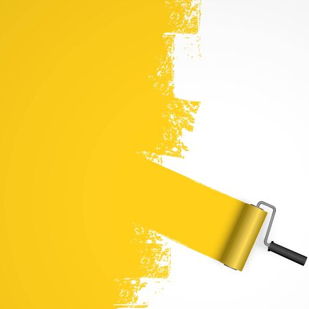 vector illustration isolated on white background with paint roller and painted marking colored yellow
