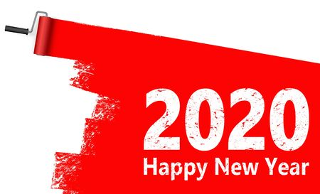 red colored paint roller concept for New Year 2020