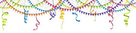 Illustration for vector illustration of seamless colored confetti, garlands and streamers on white background for party or carnival usage - Royalty Free Image