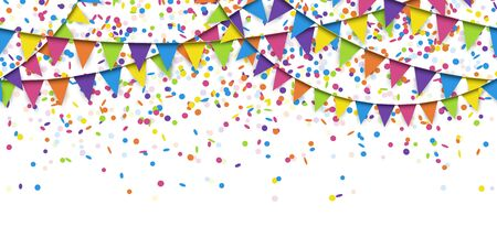 Illustration for illustration of seamless colored garlands and confetti on white background for sylvester party or carnival template usage - Royalty Free Image