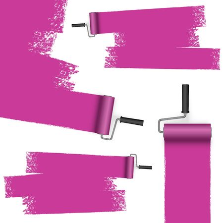illustration isolated on white background with paint rollers and painted markings colored purple