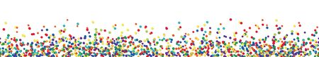 Illustration for vector panorama illustration of different colored confetti with free white space for text for carnival, sylvester or party time on white background - Royalty Free Image